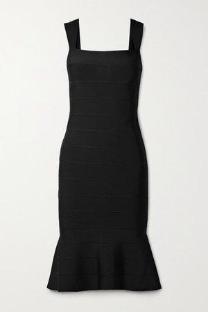 Icon Fluted Bandage Dress - Black