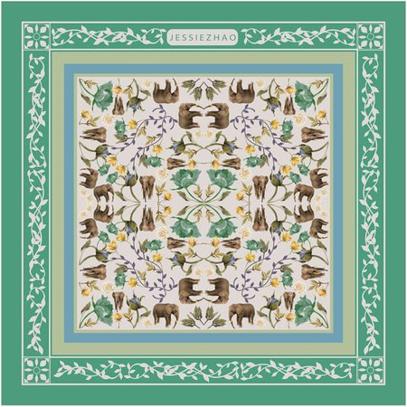 Silk Scarf In Green With Rainforest Story   Jessie Zhao New York   Wolf & Badger