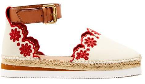 Laser Cut Leather Espadrilles - Womens - Red White