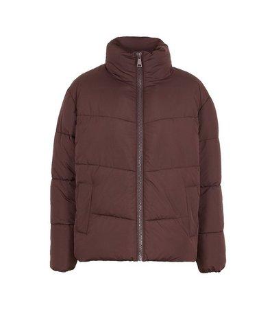 Burgundy Boxy Puffer Jacket   New Look