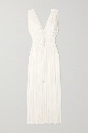 Vereniki Draped Silk-tulle Maxi Dress - White