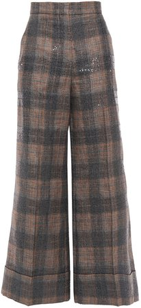 Sequin-embellished Checked Linen-blend Wide-leg Pants