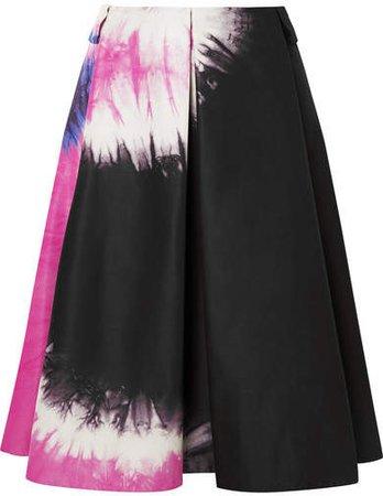 Tie-dyed Duchesse-silk Skirt - Black