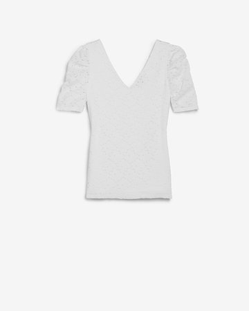 Lace Puff Sleeve Tee | Express