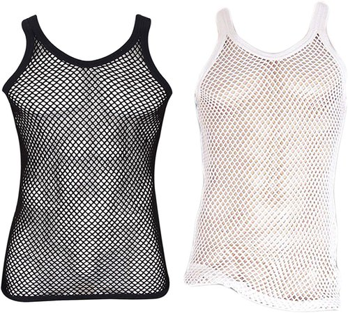 Amazon.com: Mens 100% Cotton Fitted Muscle Fishnet String Vest Tank Top Mesh (Small, Red): Gateway