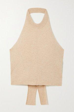 Wies Cropped Cashmere-blend Halterneck Top - Beige