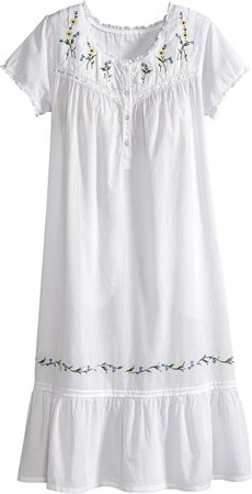 Cotton Lawn Floral Embroidered Nightgown