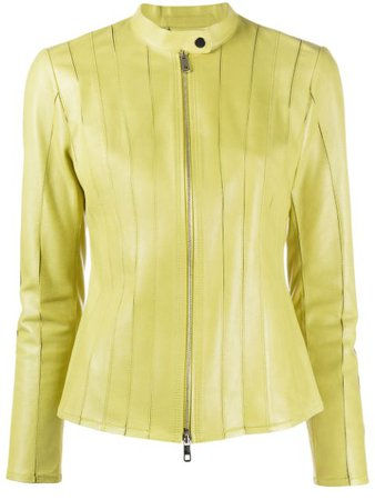 Desa 1972 Zipped Leather Jacket K9537LP Green   Farfetch