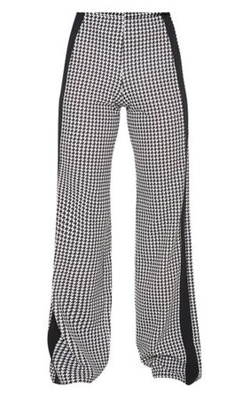 Black Dogtooth Wide Leg Side Stripe Trouser | PrettyLittleThing USA