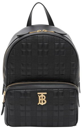 TB Quilted Check Leather Backpack