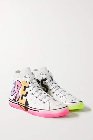 Printed Canvas High-top Sneakers - White
