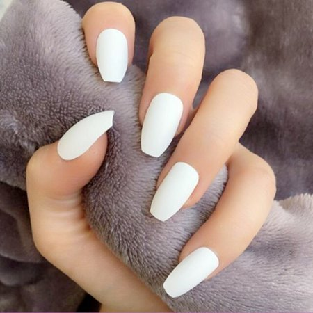 Online Shop 24PCS Long Coffin Glossy False Nails Solid White Acrylic Fake Nails Natural Clear Glitter Ballerina Nail Tips For Nail Extention | Aliexpress Mobile