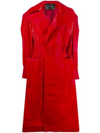Shop red Mugler belted vinyl trench coat with Express Delivery - Farfetch