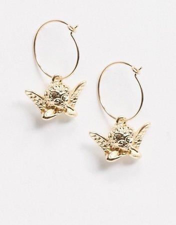 ASOS DESIGN hoop earrings with cherub charm in gold tone   ASOS