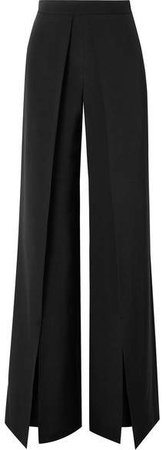 Pleated Silk-crepe Wide-leg Pants - Black