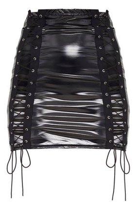 Black Vinyl Double Lace Up Mini Skirt | PrettyLittleThing