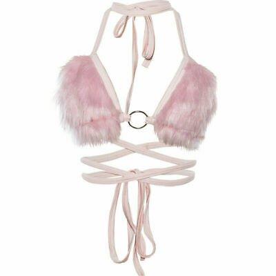 Faux Fur Bra Halter Neck Bralette Lace Up Fluffy Bikini Top Slim Fit Rave Party | eBay