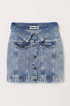 Denim Skirt with Buttons - Blue