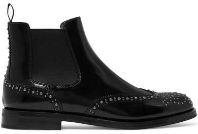 Ketsby Met Studded Glossed-leather Chelsea Boots - Black