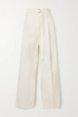 Belted Pleated Stretch-cotton Twill Wide-leg Pants - Ivory