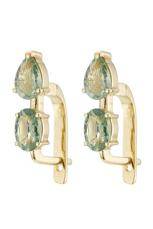 18K Yelow Gold Earrings with Green Sapphires Gr. One Size