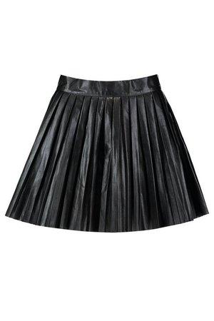 Pleated Leather Look Mini Skirt | Boohoo