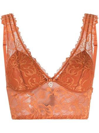 Emporio Armani lace triangle-cup bralette orange 1643131P214 - Farfetch