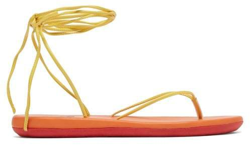 Spaghetti Wrap Around Sandals - Womens - Yellow Multi