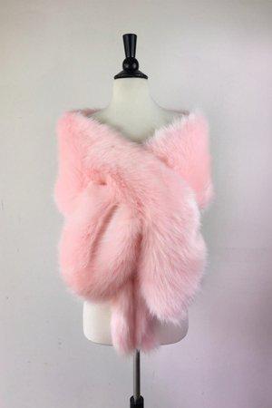 pink fur shawl