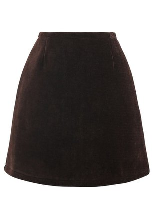 Corduroy Mini Bud Skirt in Brown - Retro, Indie and Unique Fashion