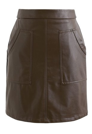 Pockets Faux Leather Bud Skirt in Brown - Retro, Indie and Unique Fashion