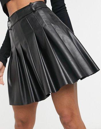 COLLUSION PU pleated mini skirt in black   ASOS
