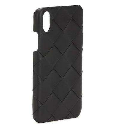 Intrecciato leather iPhone X case