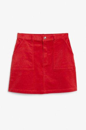 A-line cord mini skirt - Sports car red - Skirts - Monki GB