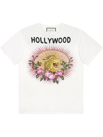 GUCCI Leopard Motif T-Shirt in White