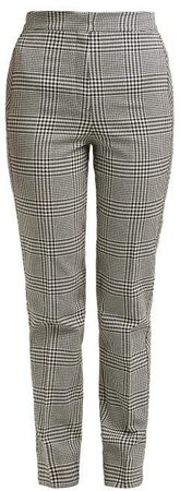 Emanuelle Checked Silk Blend Trousers - Womens - Black White
