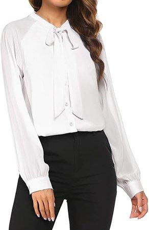 White bow neck tie blouse