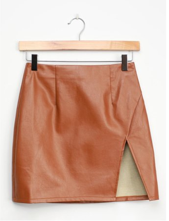 Lulus Walking the Walk Camel Vegan Leather Mini Skirt