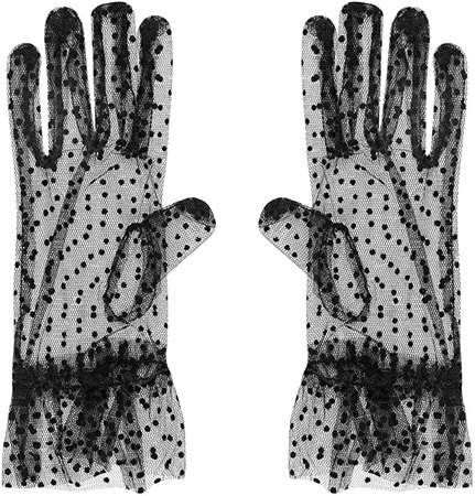 Amazon.com: Xuhan Short Elegant Floral Lace Gloves for Women Wrist Length (10.2 inches-Black): Clothing