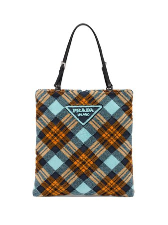 Prada logo-plaque Plaid Velvet Tote Bag - Farfetch