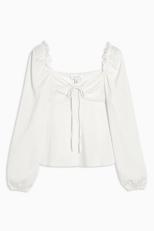 Ivory Plain Long Sleeve Prairie Blouse | Topshop