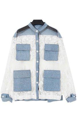 I'm Just Extra Light Blue Denim White Lace Sheer Mesh Loose Jacket Blo – Indie XO