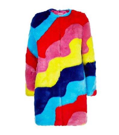 Mira Mikati Rainbow Wave Faux Fur Coat