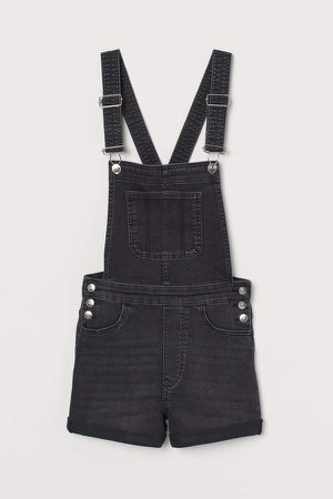 Denim Overall Shorts - Gray