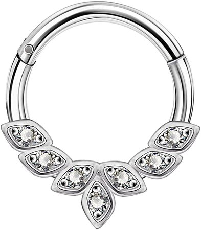 Amazon.com: OUFER 16G 316L Stainless Steel Daith Earrings Hoop Cluster CZ Hinged Segment Clicker Daith Clicker Helix Ear Piercing: Clothing