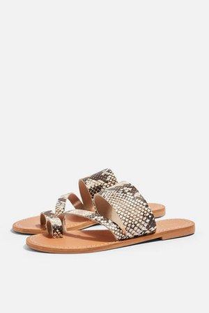 HONEY Leather Snake Print Flat Sandals | Topshop