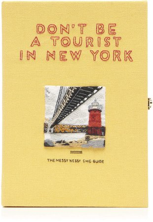 Olympia Le-Tan Don't Be A Tourist In New York Embroidered Book Clutch