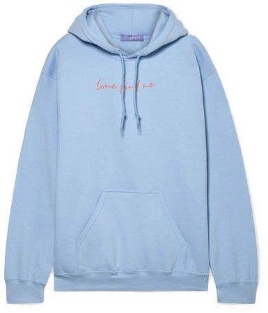 Paradised - Printed Cotton-blend Fleece Hoodie - Light blue