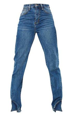 Tall Mid Blue Wash Split Hem Straight Leg Jeans | PrettyLittleThing