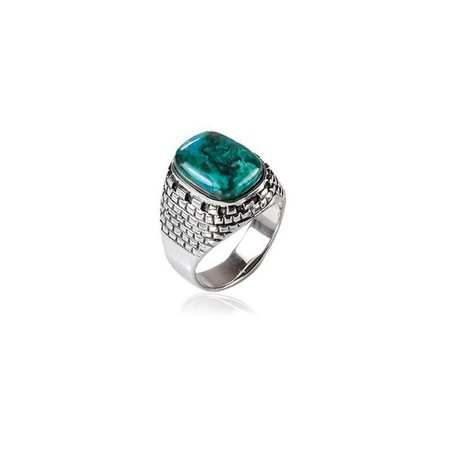 Eilat Stone Ring in Sterling Silver with Jerusalem Design by Rafael Jewelry